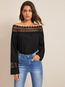 Solid Lace Panel Bardot Blouse