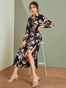 Large Floral Split Thigh Belted Shirt Dress