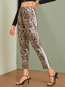 Snakeskin Contrast Panel Crop Pants