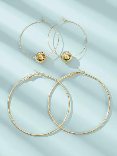 Ball Decor Hoop Earrings 2pairs