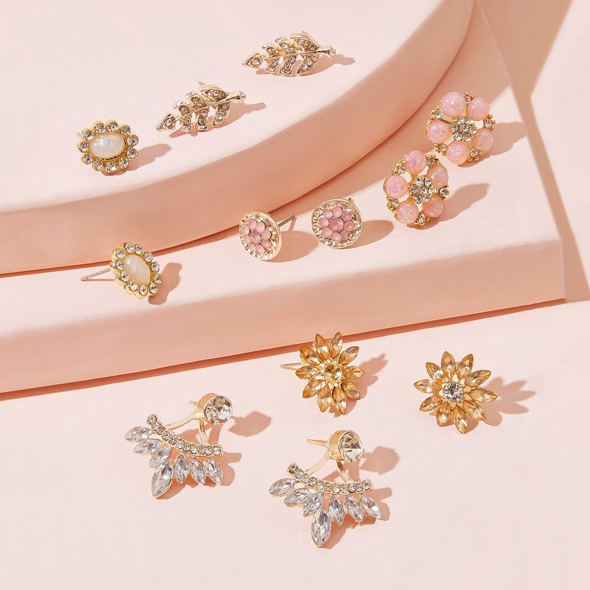 Серьги в форме цветов и листа со стразами 6 пар
