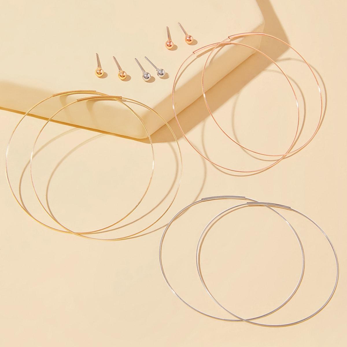 Серьги-гвоздики и серьги-кольца 6 пар