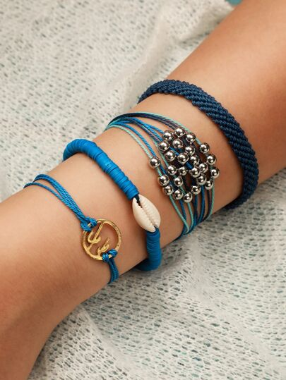 Shell & Ball Decor String Bracelet 1pc