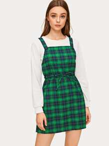 Tartan Drawstring Waist Pinafore Dress