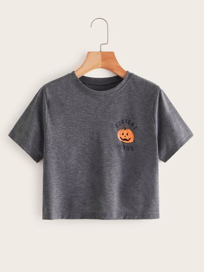 Letter And Pumpkin Print Crop Tee