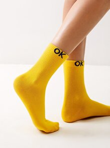Letter Embroidery Socks 1pair