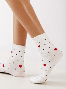 Heart & Polka Dot Pattern Socks 1pair
