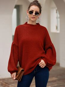 Mock Neck Bishop Sleeve Solid Sweater