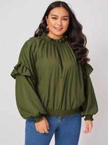Plus Frill Neck Shirred Ruffle Trim Blouse