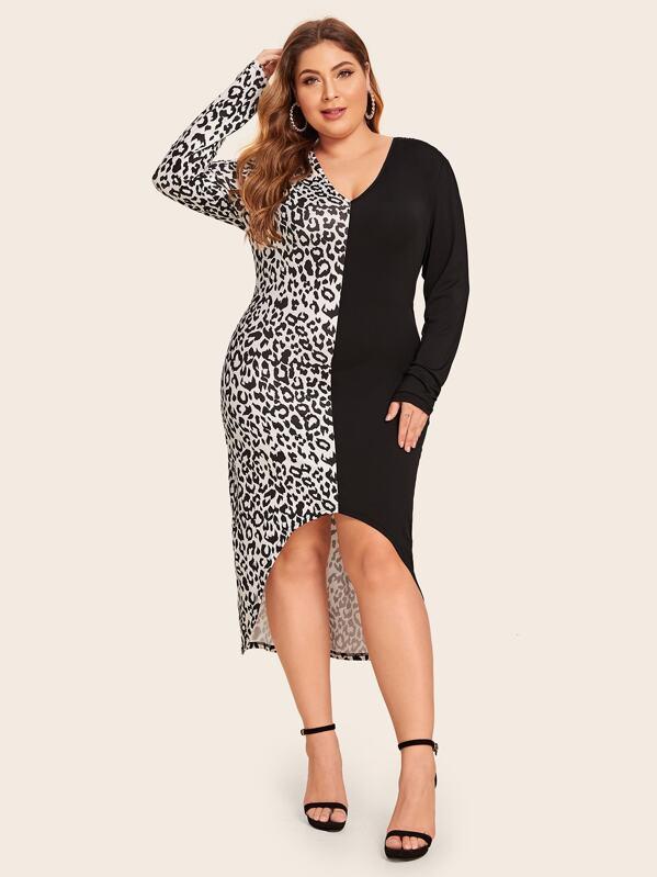 Plus Leopard Print High Low Spliced Dress