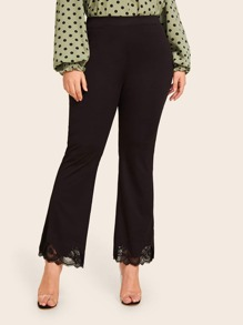 Plus Lace Trim Flare Leg Pants