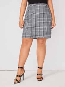 Plus Plaid Print Zip Back Skirt