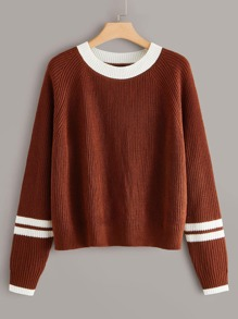 Plus Striped Sleeve Round Neck Sweater