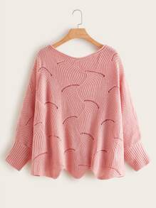 Plus Hollow Out Asymmetrical Hem Sweater