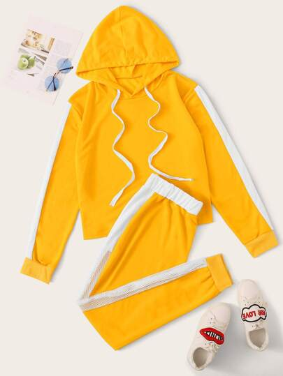 Plus Colorblock Hoodie & Fishnet Mesh Insert Sweatpants Set