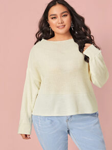 Plus Drop Shoulder Cable Knit Jumper