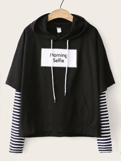 Contrast Stripe Sleeve Letter Graphic Hoodie