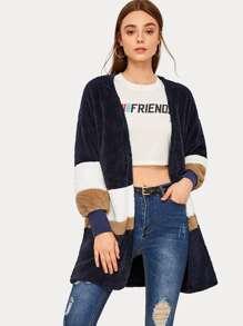 Open Front Color Block Teddy Coat