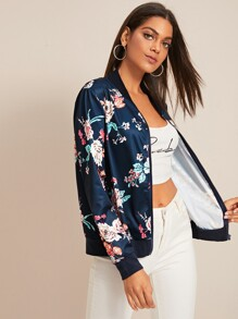 Floral Print Contrast Trim Zip Up Bomber Jacket