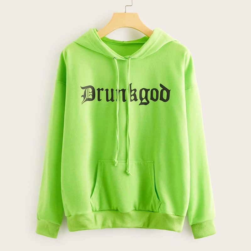 Neon Green Letter Graphic Drawstring Hooded Sweatshirt, Green bright