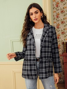 Lapel Collar Plaid Button Front Blazer