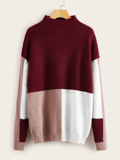 Cut And Sew Panel Drop Shoulder Sweater