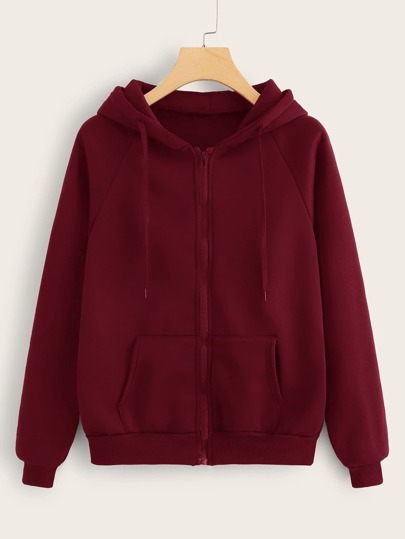 Zip Up Kangaroo Pocket Drawstring Hoodie
