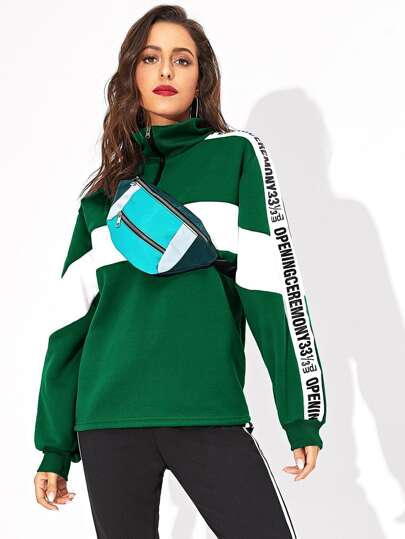 Quarter Zip Contrast Panel Letter Tape Sweatshirt Without Bag