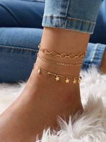 Star & Geometric Decor Chain Anklet 3pcs