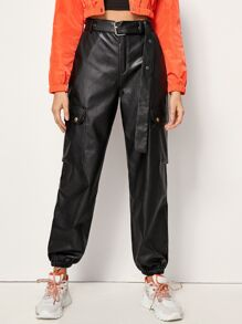 Pocket Detail Belted PU Leather Cargo Pants
