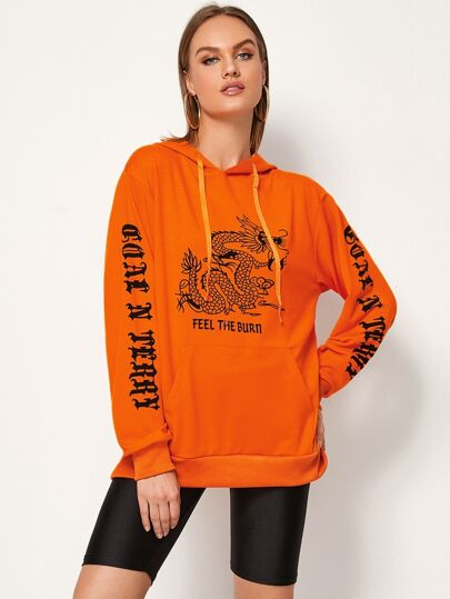 Neon Orange Dragon & Letter Graphic Hoodie