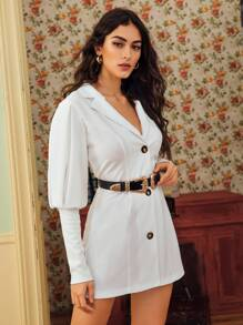 Lapel Neck Leg-of-mutton Sleeve Blazer Dress