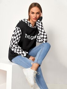 Contrast Panel Letter And Checker Print Hooded Sweatshirt