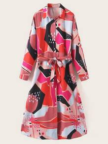 Geo Print Self Tie Shirt Dress