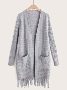 Double Pocket Fringe Hem Twist Cable Knit Cardigan