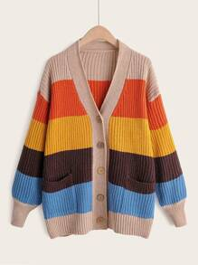Colorblock Double Front Single Breasted Cardigan