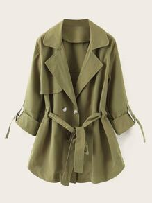 Lapel Neck Double Button Belted Trench Coat