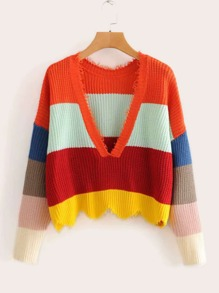 Rainbow Striped V Neck Scallop Hem Sweater