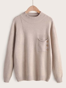 Pocket Button Front Pullover Sweater