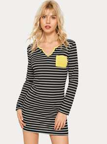 Contrast Binding Striped Fitted Dress