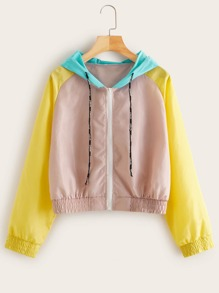 Color-block Zip-up Hooded Windbreaker Jacket