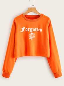 Neon Orange Letter & Rose Print Crop Sweatshirt