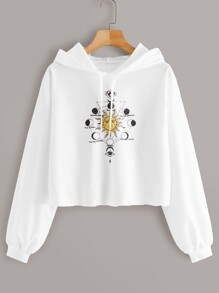 Sun Print Drawstring Hooded Sweatshirt