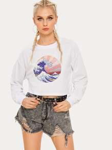 Sea Wave Print Crop Sweatshirt