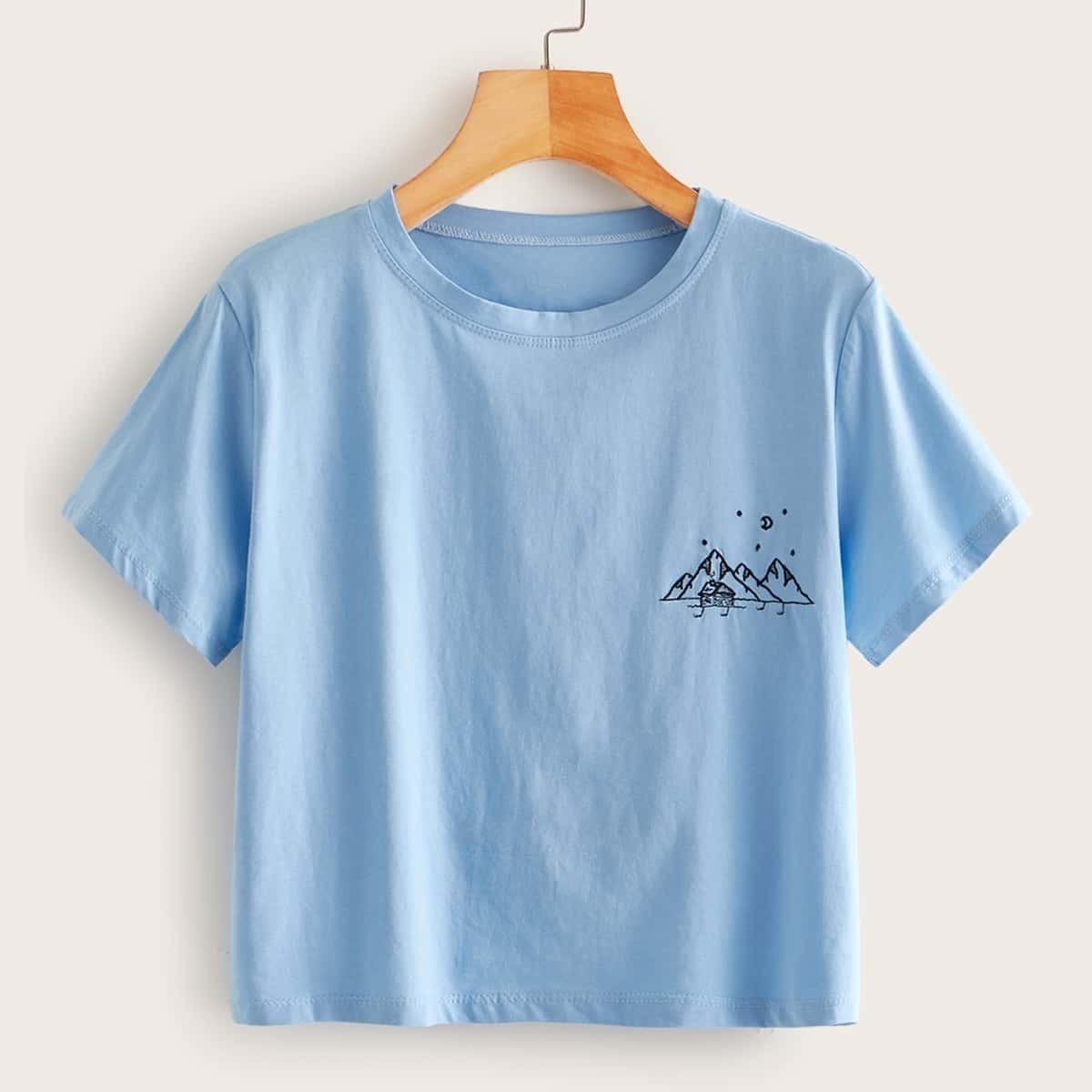 Синий повседневный футболки