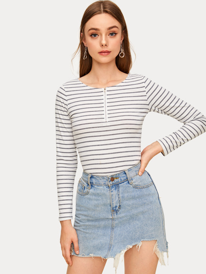 Striped Zip Detail Ribbed Tee