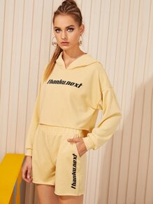 Slogan Print Hooded Sweatshirt & Track Shorts