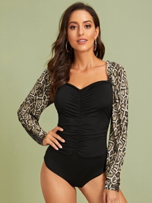Sweetheart Contrast Snakeskin Sleeve Ruched Bodysuit