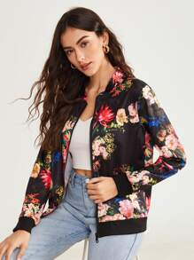 Large Floral Stand Collar Bomber Jacket