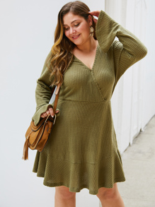 Plus Solid Ruffle Hem Flounce Sleeve Sweater Dress